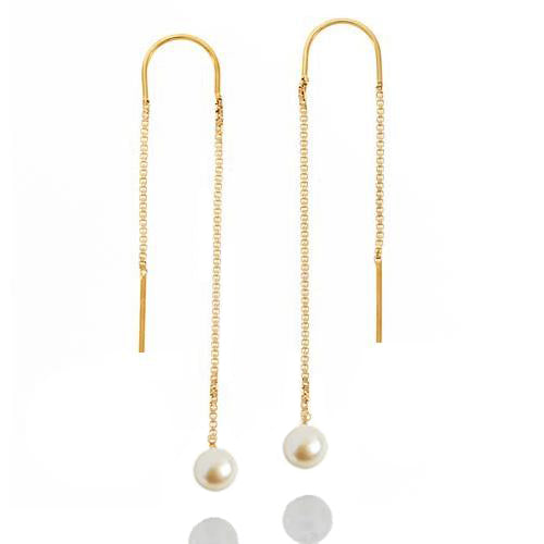 Pearl Ear Threader Earrings - AMANDA PEARL