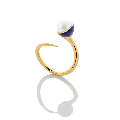 SUPER SALE: Enamel/Pearl Bypass Ring - Cobalt