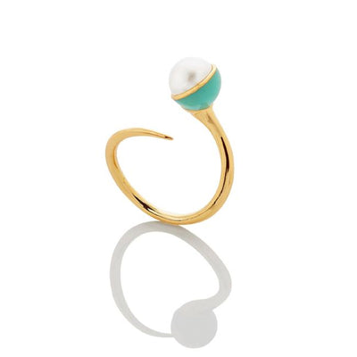 SAMPLE SALE - Enamel/Pearl Bypass Ring - Emerald