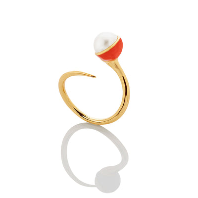 SUPER SALE: Enamel/Pearl Bypass Ring - Fire Red