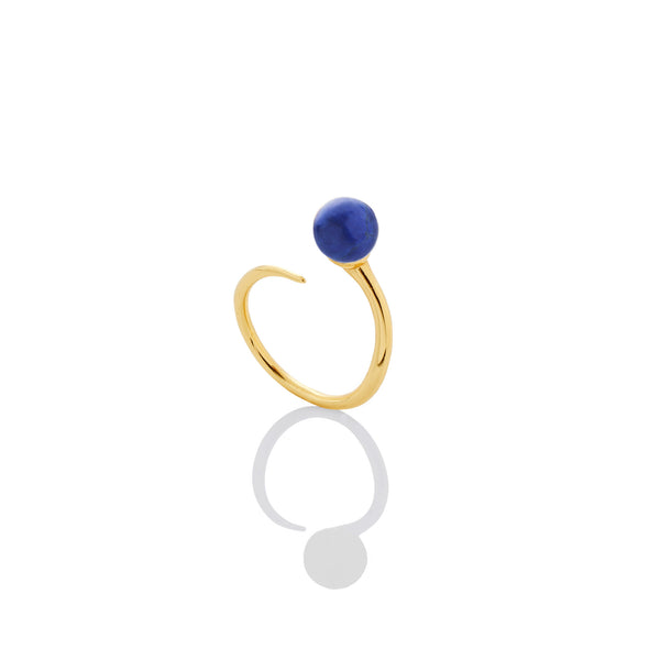 6mm Lapis Bypass Stacking Ring - AMANDA PEARL