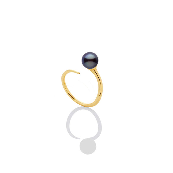 SAMPLE SALE - 6mm Black Pearl Bypass Ring - AMANDA PEARL