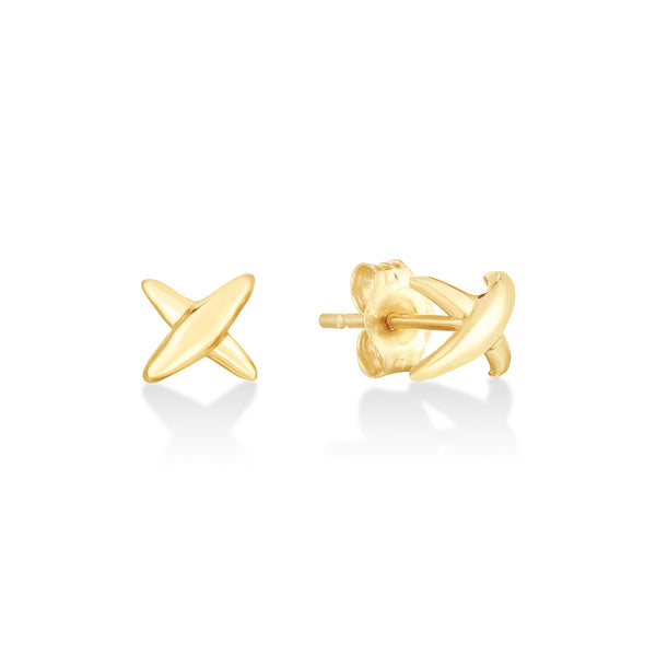14K Gold Stitch Earrings