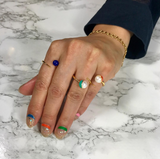 SAMPLE SALE - Enamel/Pearl Bypass Ring - Emerald - AMANDA PEARL