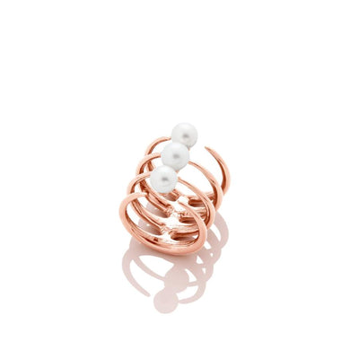 Quad Quill Ring with Pearls- Rose Gold