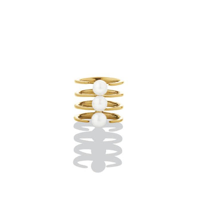 Quad Quill Ring with Pearls - Gold