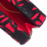 Francia: Black Lace & Red Moiré Roll Clutch - AMANDA PEARL