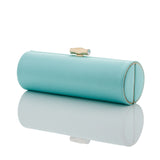 Bette: Aqua Duchess Roll Clutch - AMANDA PEARL