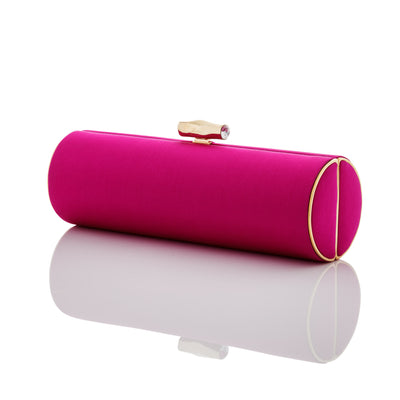 Stacy: Darjeeling Fuchsia Roll Clutch