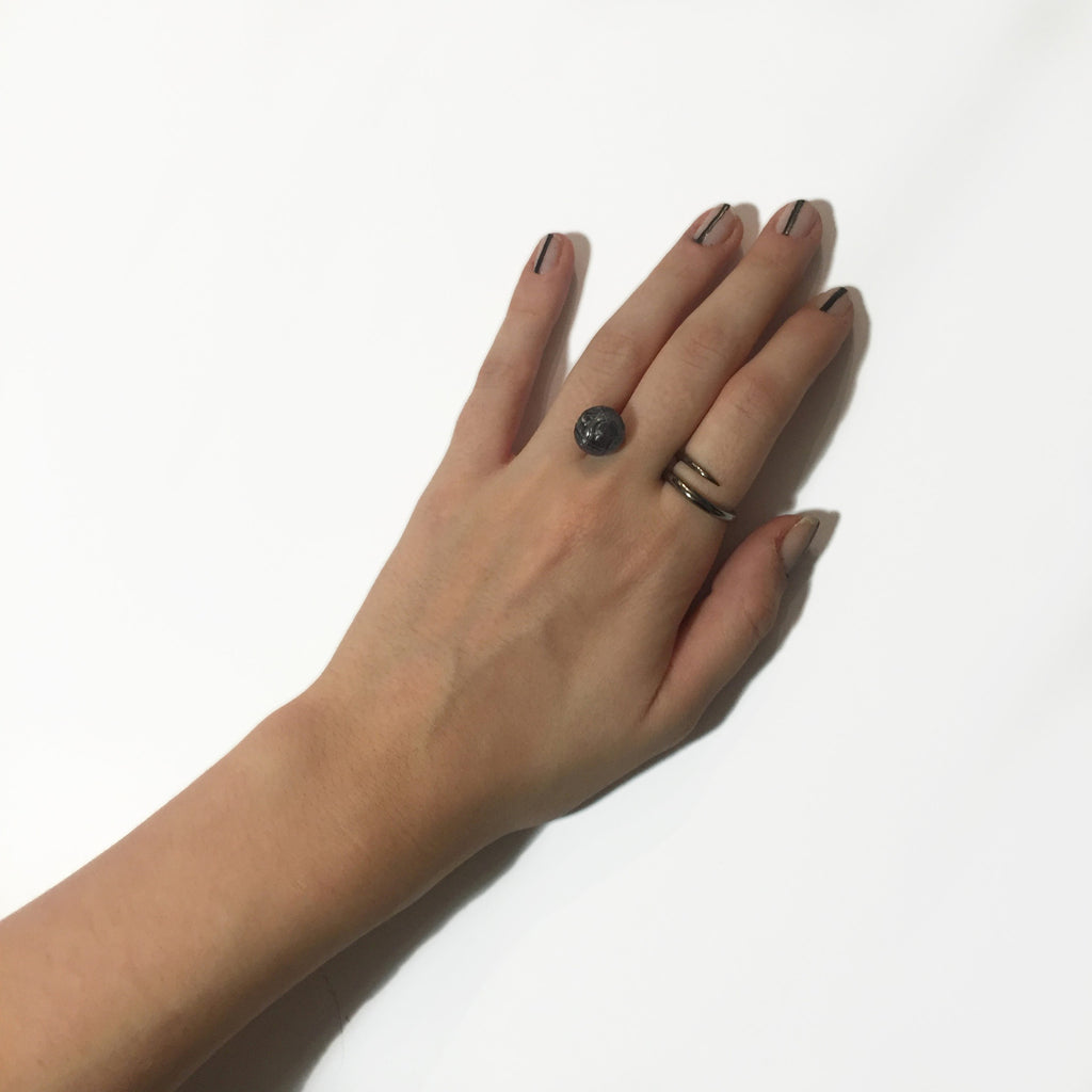 Wrap Ring with Floating Tattoo Pearl - AMANDA PEARL