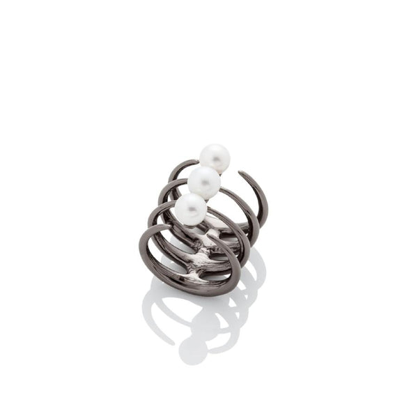 Quad Quill Ring with Pearls - Gunmetal - AMANDA PEARL