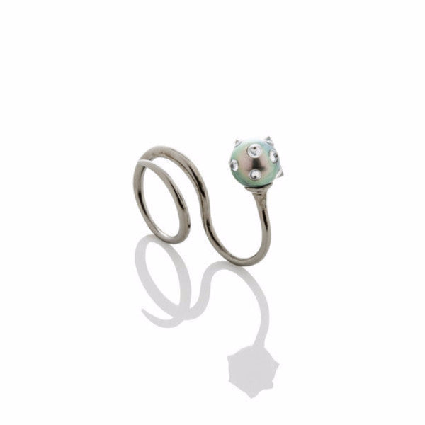 Wrap ring with floating spiked pearl - AMANDA PEARL