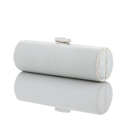 WHITE + SILVER EMBOSSED LEATHER Roll Clutch