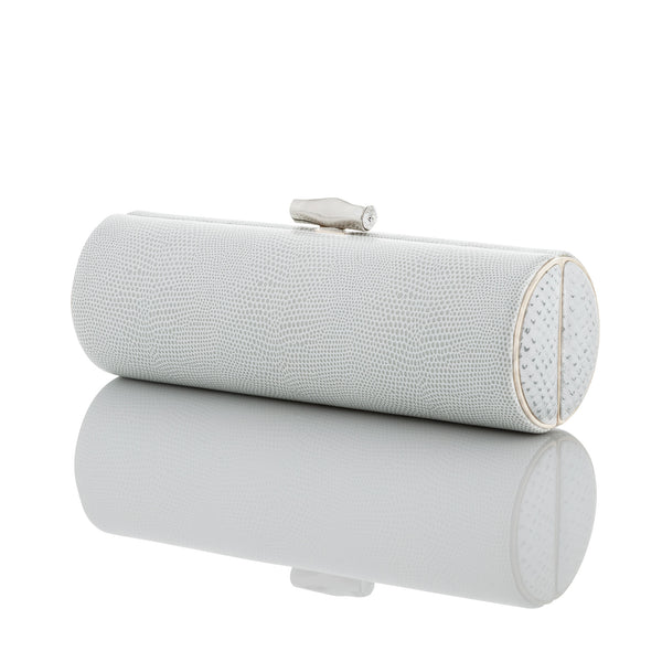 WHITE + SILVER EMBOSSED LEATHER Roll Clutch - AMANDA PEARL