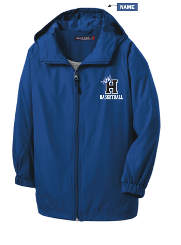Hopkins Girls Basketball Full zip wind jacket with name-Royal or Black