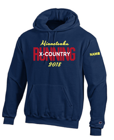 Minnetonka West Cross Country sewn hood with name
