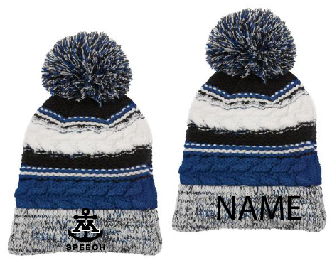 Minnetonka West Speech knit pom hat with name
