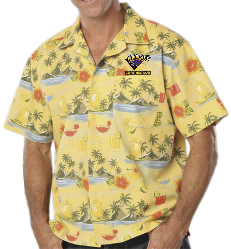 Yellow Print Hawaiian Shirt