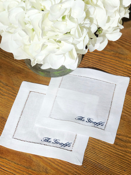 Custom Embroidered Linen Cocktail Napkins