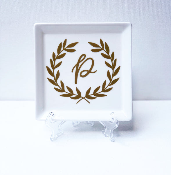 Initial Wreath Square Plate
