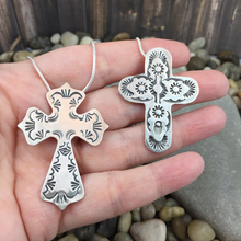 Load image into Gallery viewer, Mandana Studios sterling silver stamped cross PENDANT