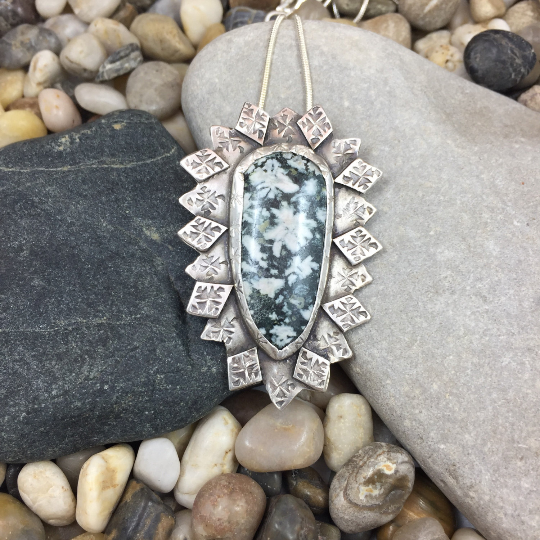 Mandana Studios Chrysanthemum Jasper stone set in silver stamped with tiny star bursts pendant
