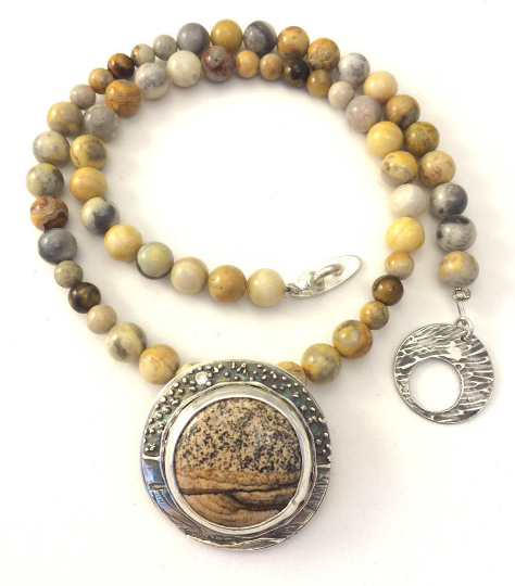 Mandana Studios sterling silver PICTURE JASPER NECKLACE