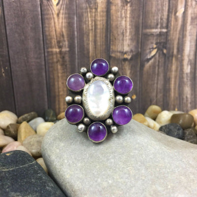Mandana Studios AMETHYST AND MOTHER OF PEARL CLUSTER RING