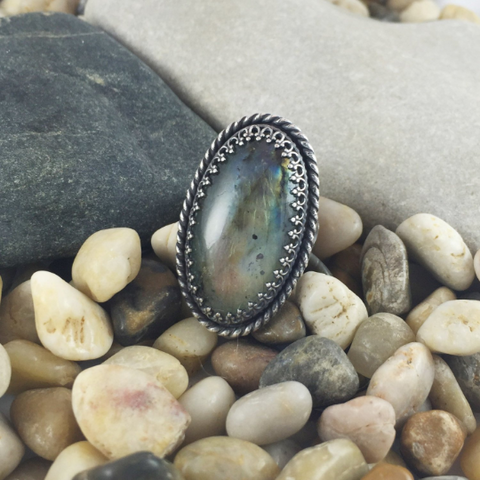NATURAL CHRYSOCOLLA GEMSTONE RING