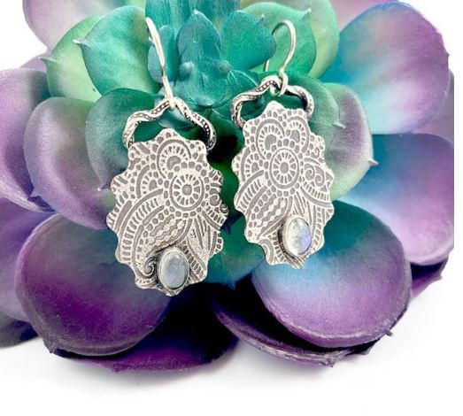 Mandana Studios sterling silver LABRADORITE HENNA EARRINGS