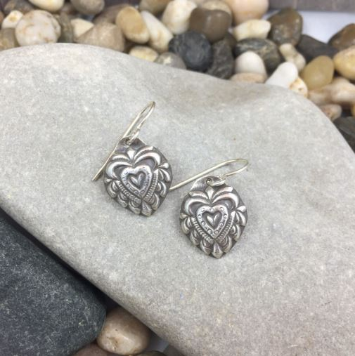 Mandana Studios sterling silver HEART SHAPED LOVE EARRINGS