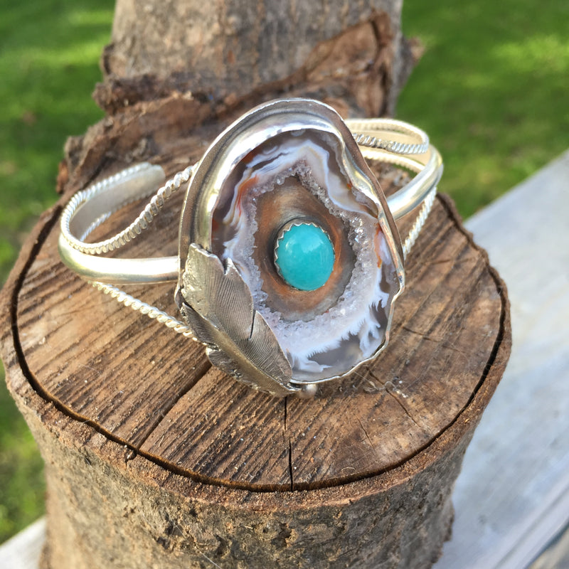 Mandana Studios sterling silver CRYSTAL CAVE WITH AMAZONITE CUFF