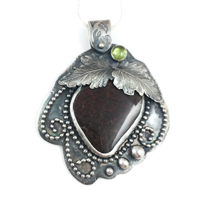 Mandana Studios RED STRAWBERRY AMMOLITE sterling silver pendant