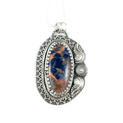 Mandana Studios blue and orange Sodalite pendant