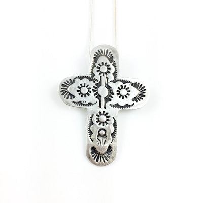 Mandana Studios sterling silver stamped cross PENDANT