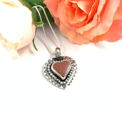 Mandana Studios goldstone heart set in sterling silver pendant
