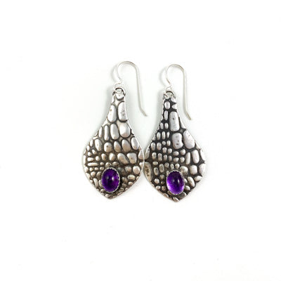 Mandana Studios sterling silver textured with a crocodile pattern and accented with gorgeous Amethyst stones