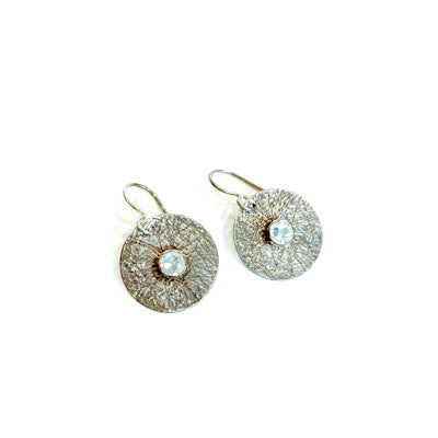 Mandana Studios sterling silver cubic zircon earrings, round silver earrings