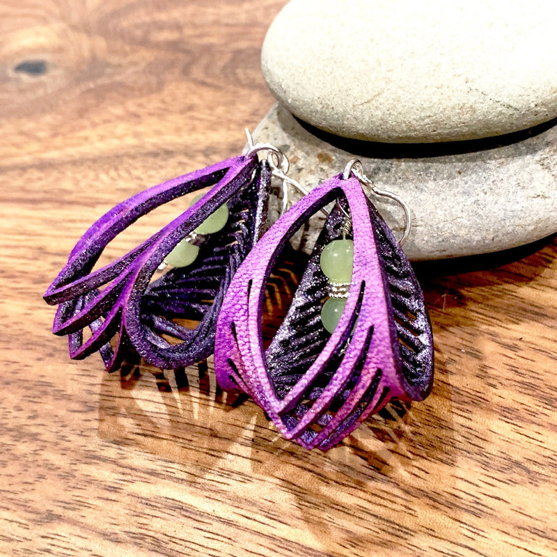 Purple Leather Sculpture Earrings