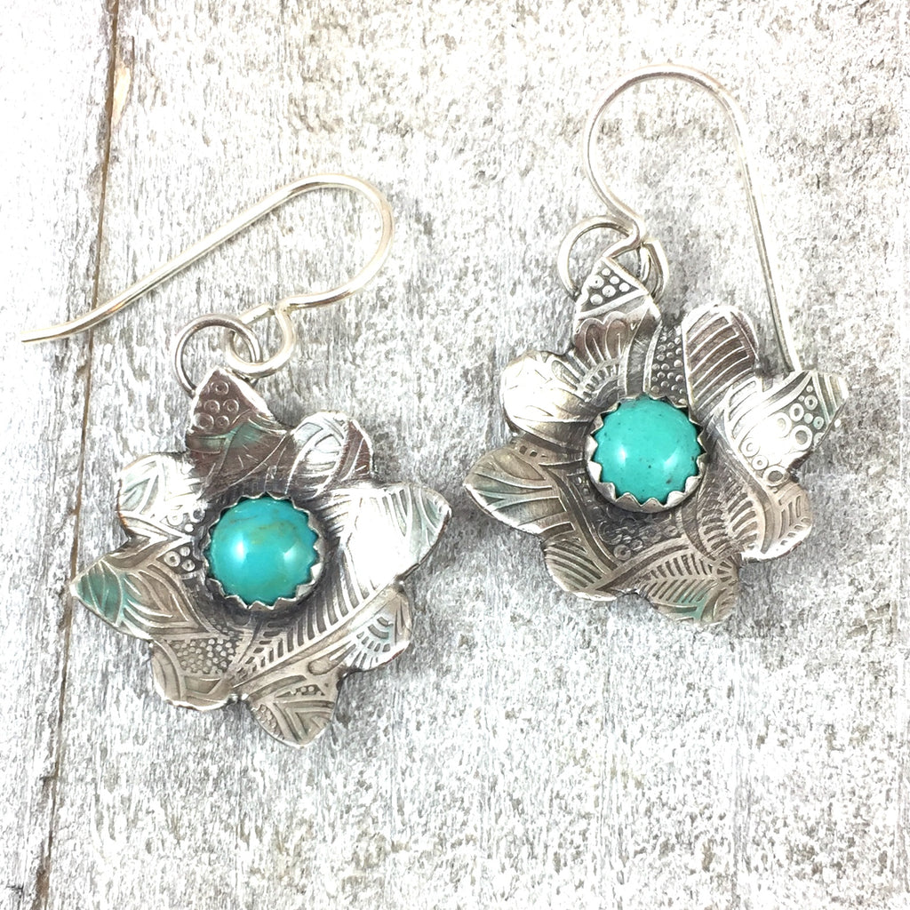 Mandana Studios sterling silver TURQUOISE FLOWER POWER EARRINGS
