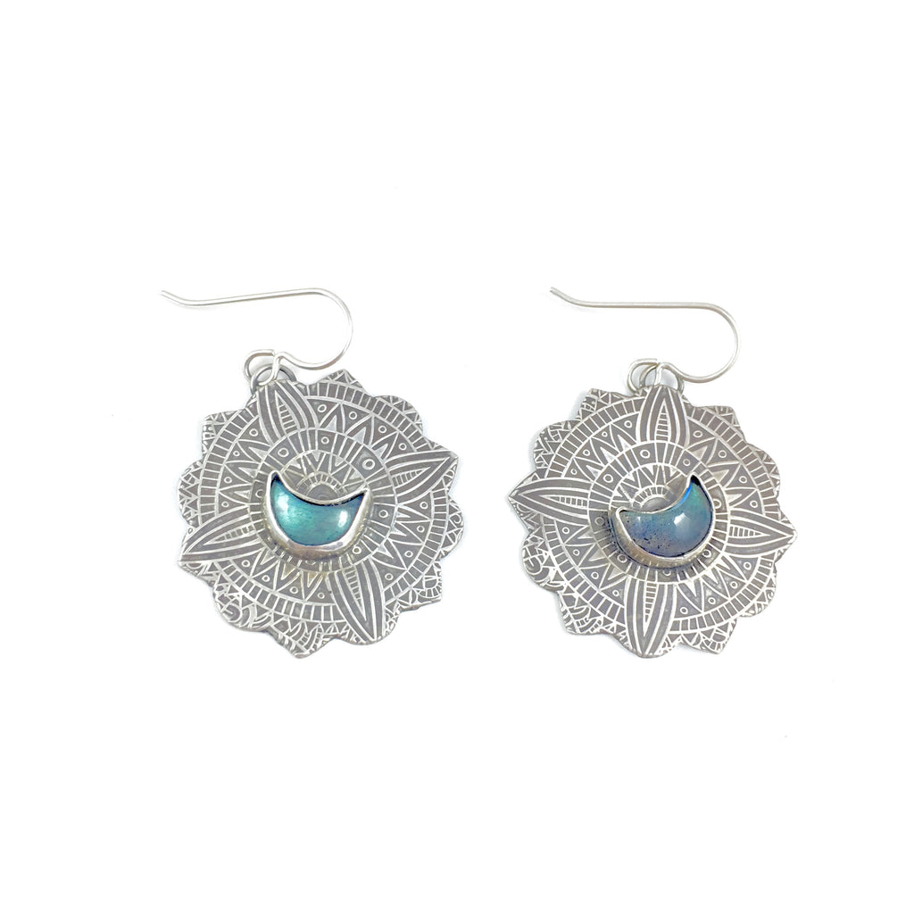 LABRADORITE MOON MANDALA EARRINGS