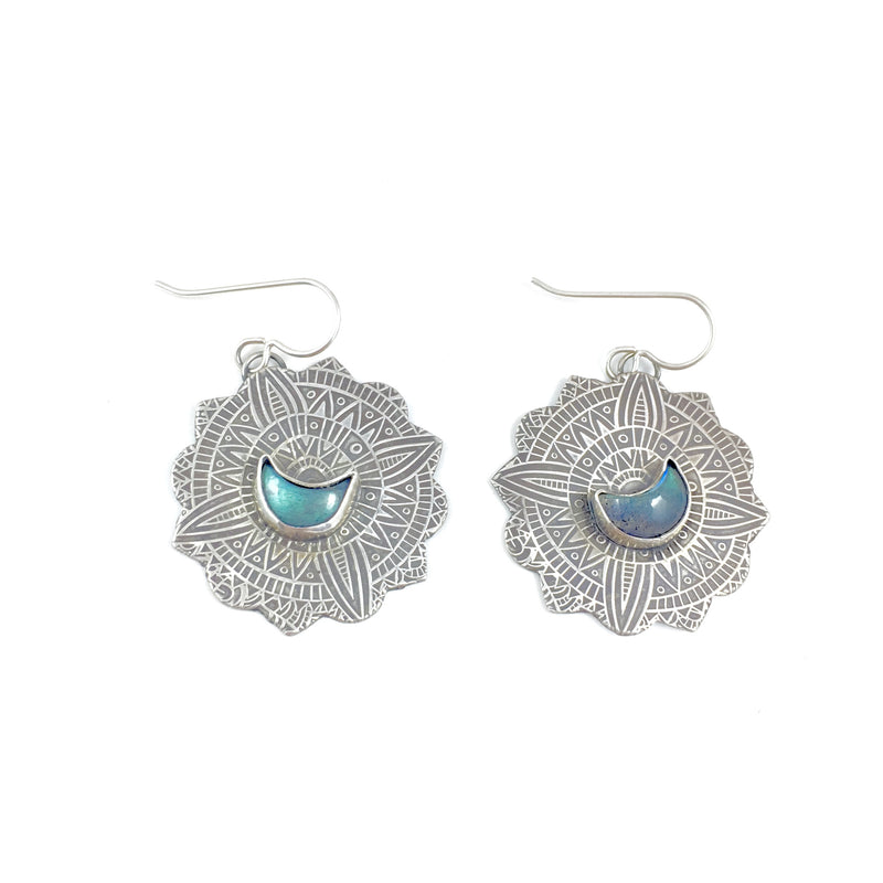 Mandana Studios sterling silver LABRADORITE MOON MANDALA EARRINGS