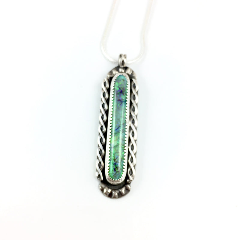 Mandana Studios sterling silver CULTURED OPAL LONG RECTANGLE PENDANT