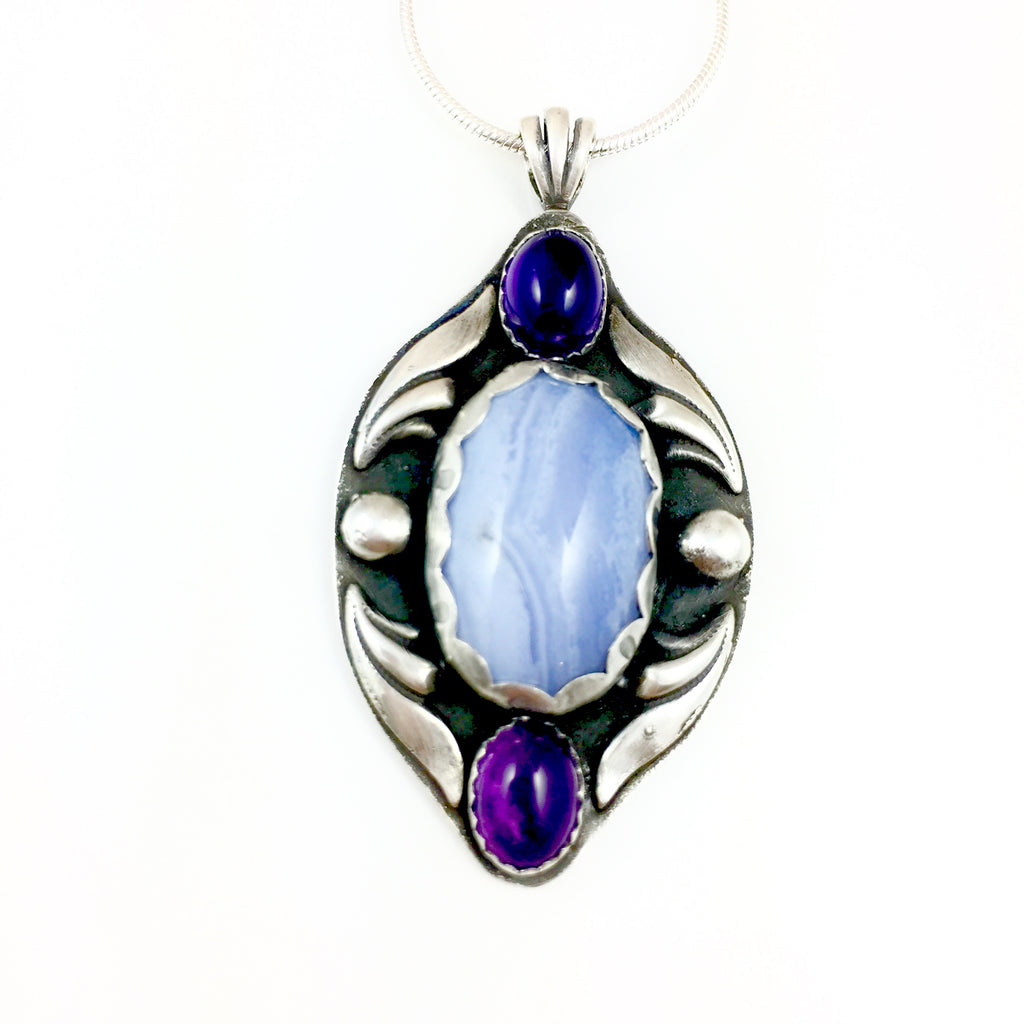 Mandana Studios sterling silver BLUE LACE AGATE & AMETHYST PENDANT