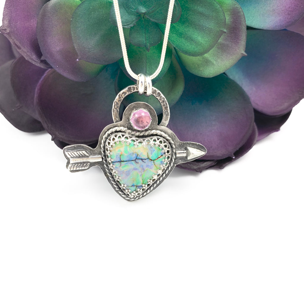 Mandana Studios sterling silver arrow shot through a cultured opal heart pendant