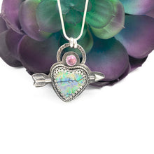 Load image into Gallery viewer, Mandana Studios sterling silver arrow shot through a cultured opal heart pendant