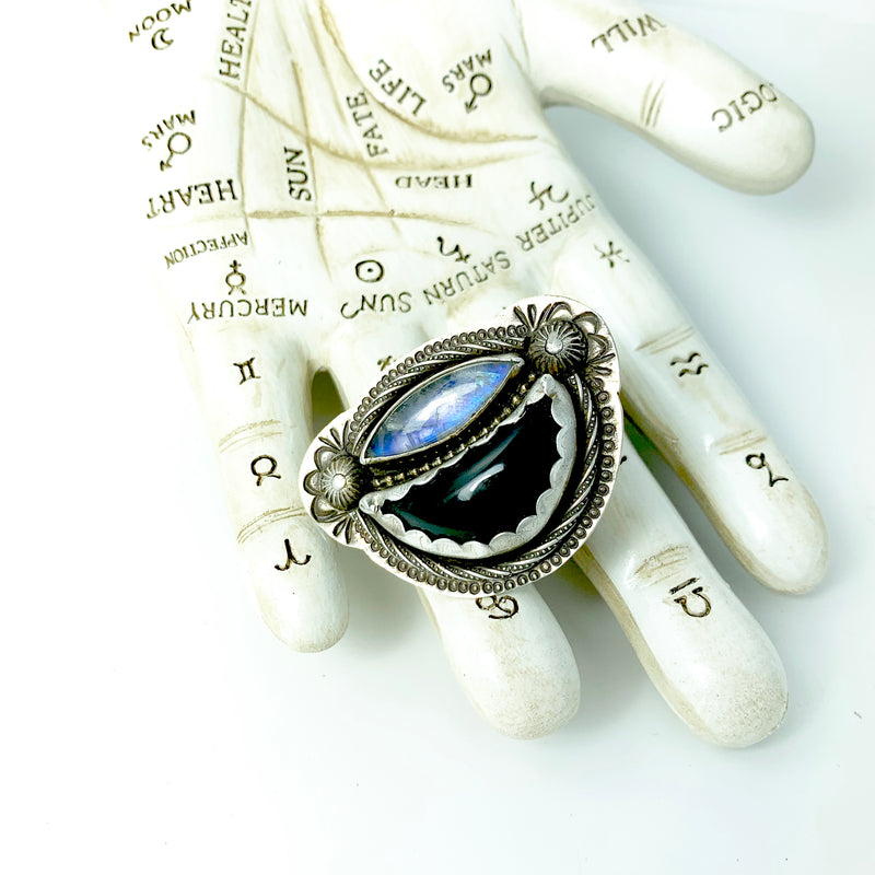 Mandana Studios sterling silver BLACK OBSIDIAN AND MOONSTONE RING