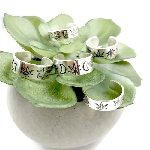 Mandana Studios Cannabis adjustable silver rings, cannabis silver jewelry, sterling silver rings, handstamped hemp rings
