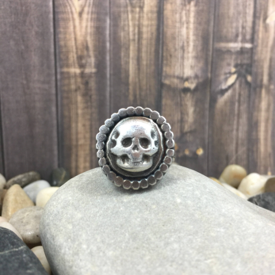 Mandana Studios sterling silver skull with halo ring