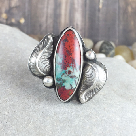 QUEEN OF HEARTS RHODOCHROSITE RING